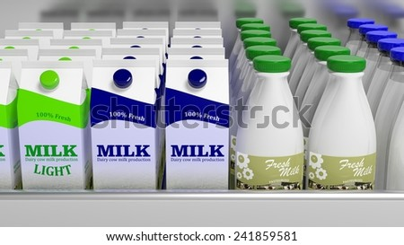 Various 3D milk containers on refrigerator shelve - stock photo