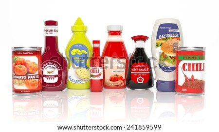 Various 3D table sauce products isolated on white - stock photo