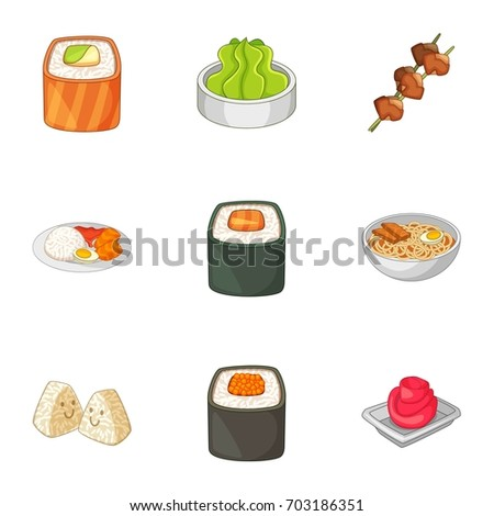 Various different types of sushi icons set. Cartoon set of 9 various different types of sushi  icons for web isolated on white background