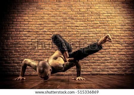 man doing yoga exercises studio shot stock photo 429147853