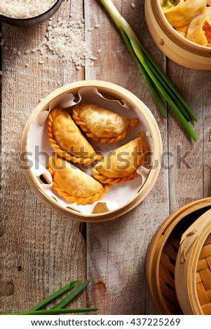 Various Dim Sum in Bamboo Steamed Bowl - stock photo