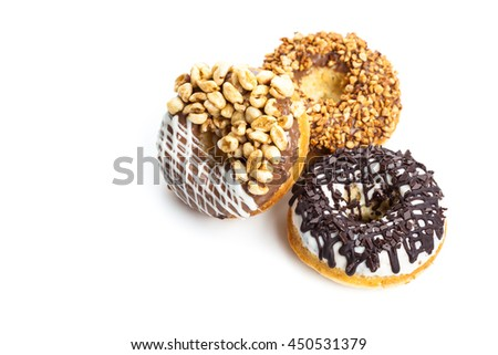 various donuts on white background - stock photo