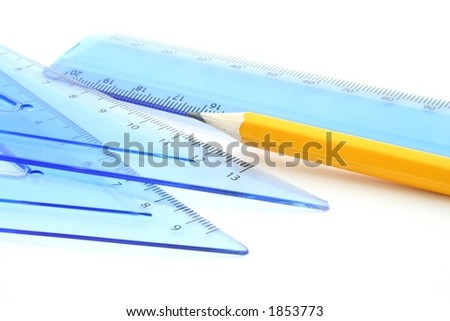 Various drawing equipment on a white background