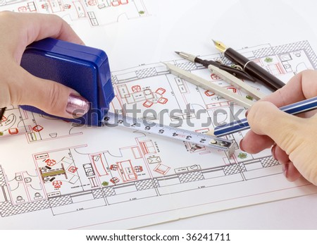 Various drawing on the layout of office supplies - stock photo