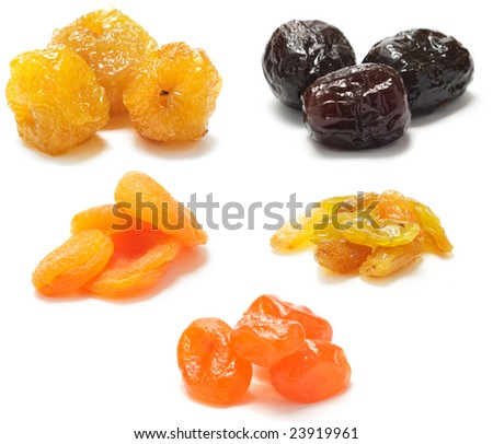 Various dried fruit isolated on a white background. Collected five different kinds of dried fruits: apples, dates, apricots, raisins, kumquat.