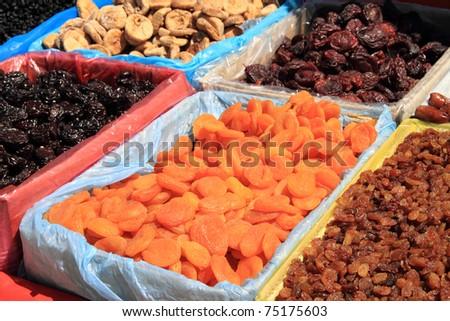 Various dried fruits at market - stock photo