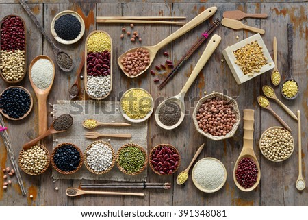 Various dried legumes for background - stock photo