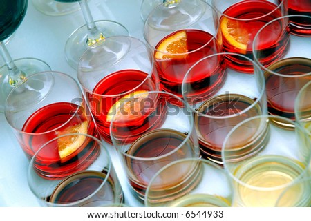 Various drinks prepared for guests on party. - stock photo