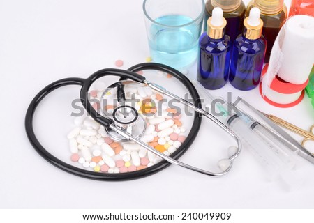 Various drugs of medical concept for the treatment  - stock photo