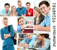 Various education related images in a collage - stock photo