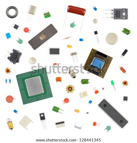 Various electronic components on white background - stock photo