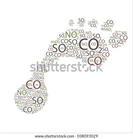 Various element symbols found in most air pollutants grouped together to form a figure of a foot. - stock photo