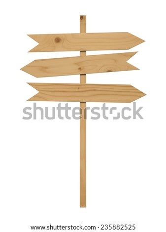 Various empty wooden sign on white background.  - stock photo