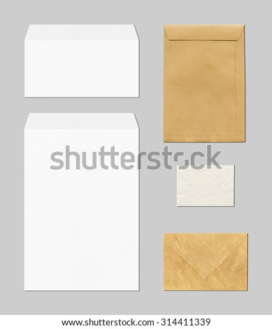 various envelopes mockup template isolated on grey background - stock photo