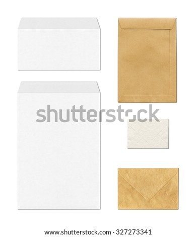 various envelopes mockup template isolated on white background - stock photo
