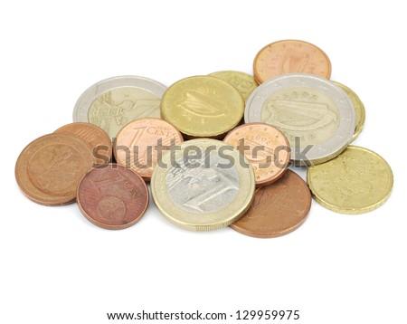 various EURO coins on a white background - stock photo