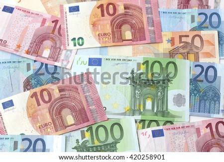Various euro notes - stock photo