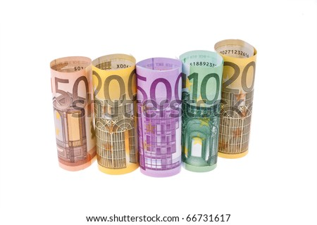 various Euro notes on a white background