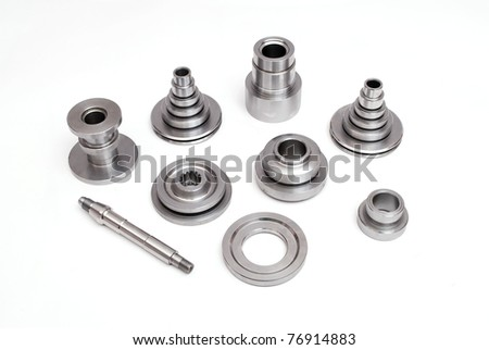 various fastener products on white back ground - stock photo