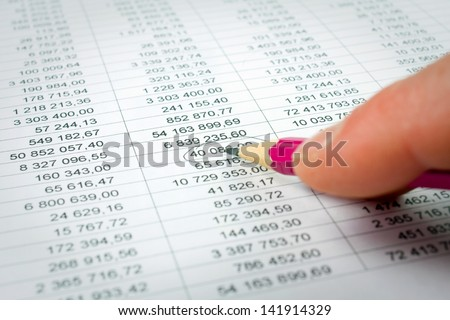 Various financial charts on the table
