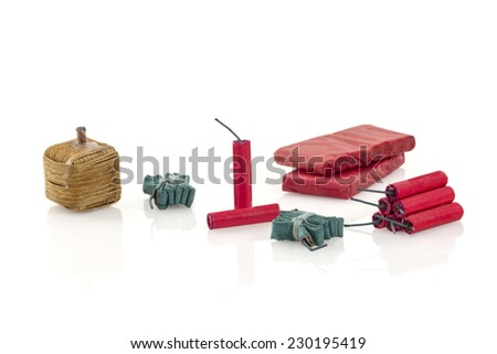Various Fire Cracker isolated on white background - stock photo