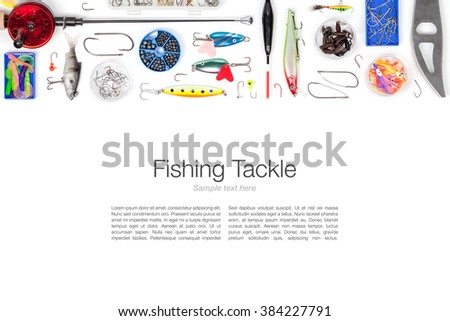 various fishing tackle on white background with copy space top view - stock photo