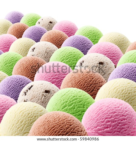various flavor of ice cream scoops against white background - stock photo