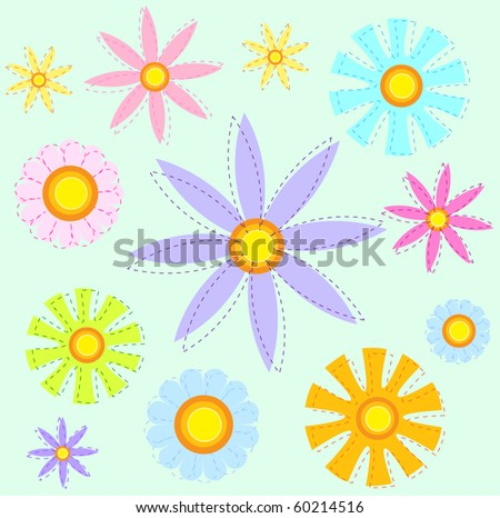 Various flowers in a seamless pattern - RASTER - stock photo