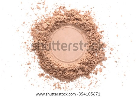 Various foundation powder makeup brushed on white background. Isolated - stock photo