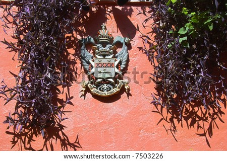 Various fragment of tropical architectural design in Caribbean islands - stock photo
