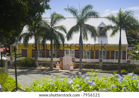 Various fragment of tropical architectural design in Caribbean islands
