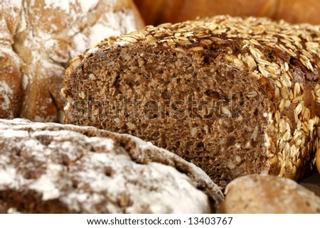 Various fresh baked goods with wheat grain