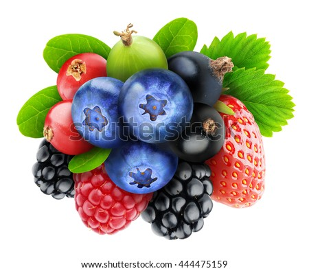 Various fresh berry fruits (blueberry, black and red currants, raspberry, strawberry, blackberry, gooseberry) isolated on white background with clipping path - stock photo