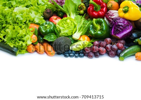 Various fresh fruits and vegetables organic  for eating healthy