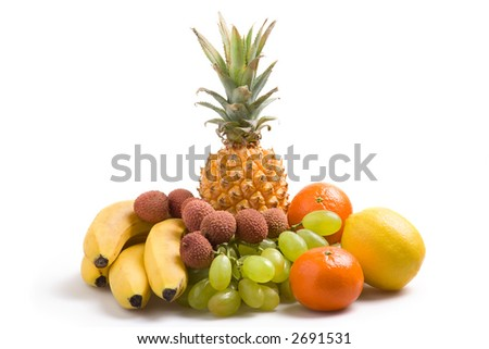 Various fresh fruits on a white background
