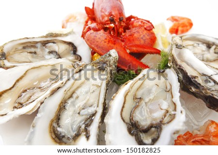 Various fresh seafood on white background - stock photo