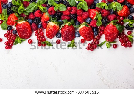 Various fresh summer berries. Top view - stock photo