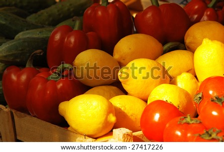 Various fresh vegetables and fruits at the market