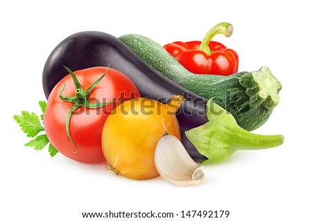 Various fresh vegetables (ratatouille ingredients) over white background - stock photo