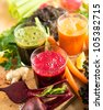 Various Freshly Squeezed Vegetable Juices - stock photo