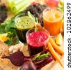 Various Freshly Squeezed Vegetable Juices for Detox - stock photo