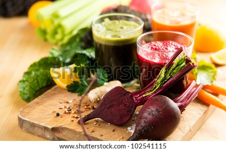 Various Freshly Squeezed Vegetable Juices for Fasting - stock photo