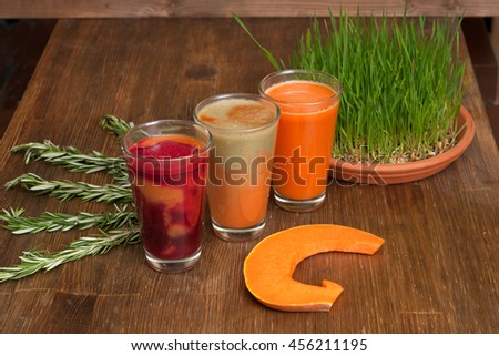 Various freshly squeezed vegetable juices with the hunk of pumpkin and germinating wheat on a wooden table. - stock photo