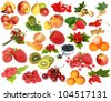Various fruit and berries isolated on a white background - stock photo
