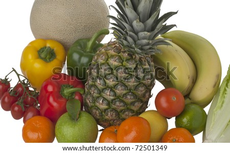 various fruit and vegetables against a white background