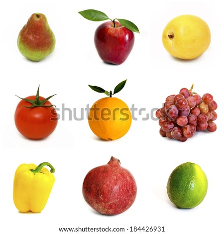 Various fruits and vegetables isolated on white background - stock photo