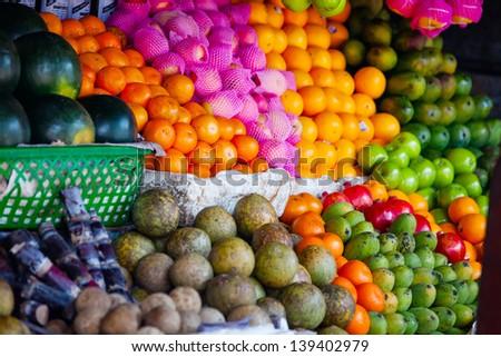 Various fruits at local market in Sri Lanka - stock photo