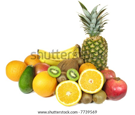Various fruits isolated on the white background - stock photo