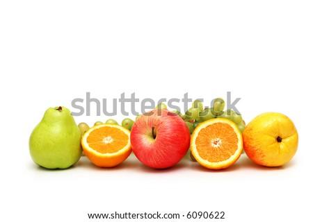 Various fruits isolated on the white background - more similar photos in my portfolio - stock photo