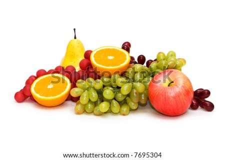 Various fruits isolated on white
